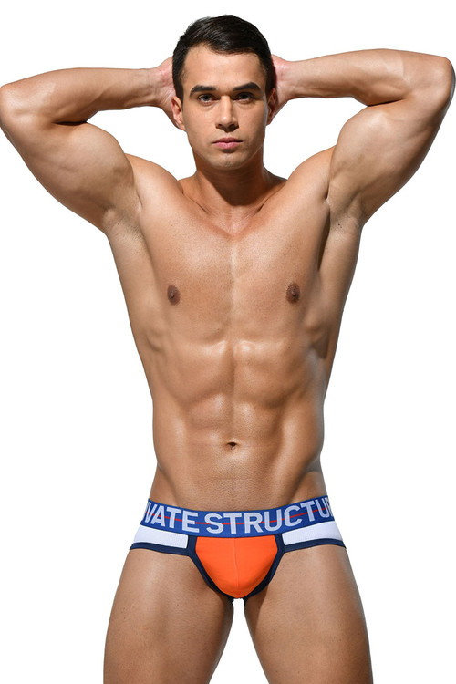 Private Structure Momentum Orange Contour Brief MIUY3854-WH White - Mens Briefs - Front View - Topdrawers Underwear for Men