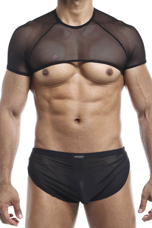 Joe Snyder Top T Shirt JS32-BLM Black Mesh - Mens Harness Crop Top T-Shirts - Front View - Topdrawers Clothing for Men