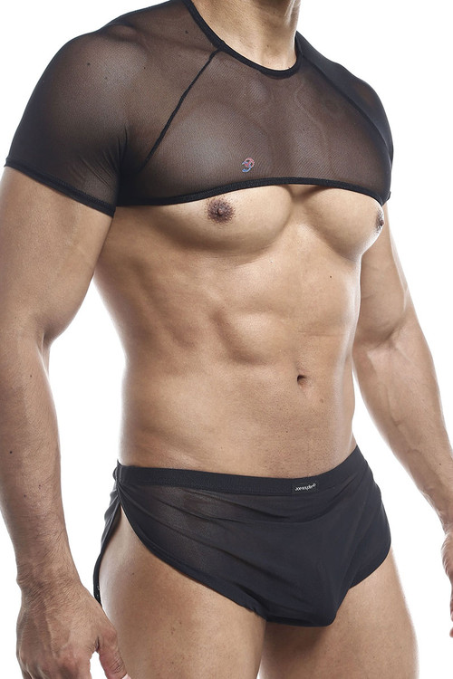 Joe Snyder Top T Shirt JS32-BLM Black Mesh - Mens Harness Crop Top T-Shirts - Side View - Topdrawers Clothing for Men