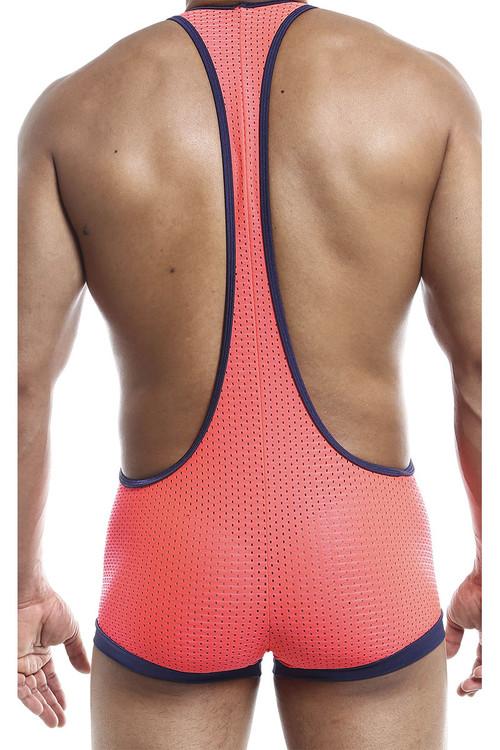 Joe Snyder Bulge Singlet JSBUL10-CPHM Coral Sport Mesh - Mens Wrestling Singlets - Rear View - Topdrawers Underwear for Men