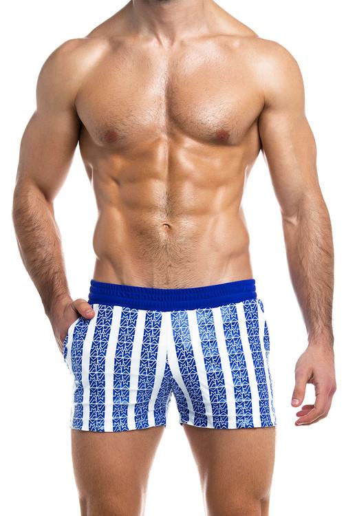 Modus Vivendi Tyres Swim Short ES2031-BU Blue - Mens Swim Shorts - Front View - Topdrawers Swimwear for Men