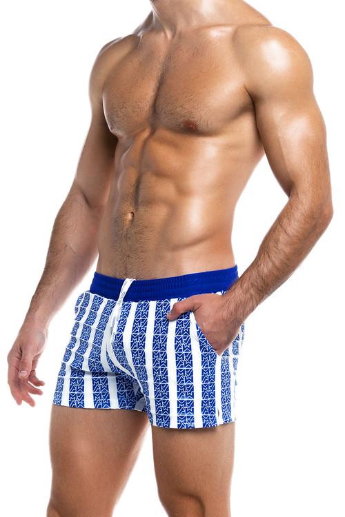 Modus Vivendi Tyres Swim Short ES2031-BU Blue - Mens Swim Shorts - Side View - Topdrawers Swimwear for Men