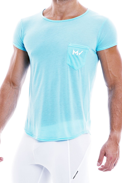 Modus Vivendi Peace T-Shirt 04041-AQ Aqua - Mens T-Shirt Tops - Side  View - Topdrawers Clothing for Men