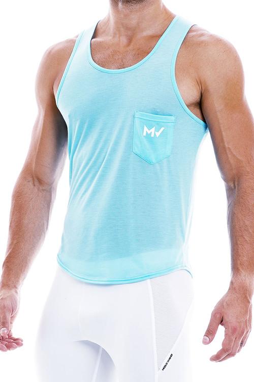 Modus Vivendi Peace Tanktop 04031-AQ Aqua - Mens Tank Tops - Side View - Topdrawers Clothing for Men