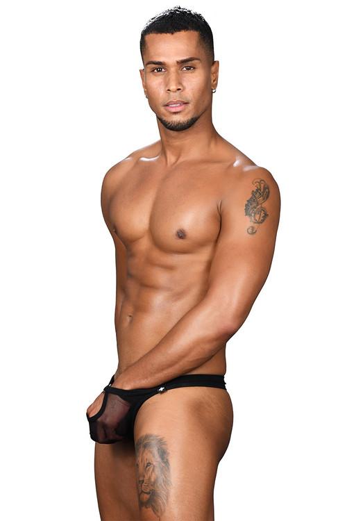 Andrew Christian Arouse Sheer Ring Thong 91422-BL Black - Mens Thongs - Side View - Topdrawers Underwear for Men
