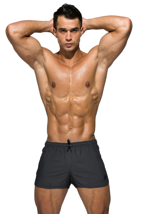 Private Structure BeFit Sweat Athletic Shorts BSBY4059-GR Grey - Mens Athletic Shorts - Front View - Topdrawers Clothing for Men