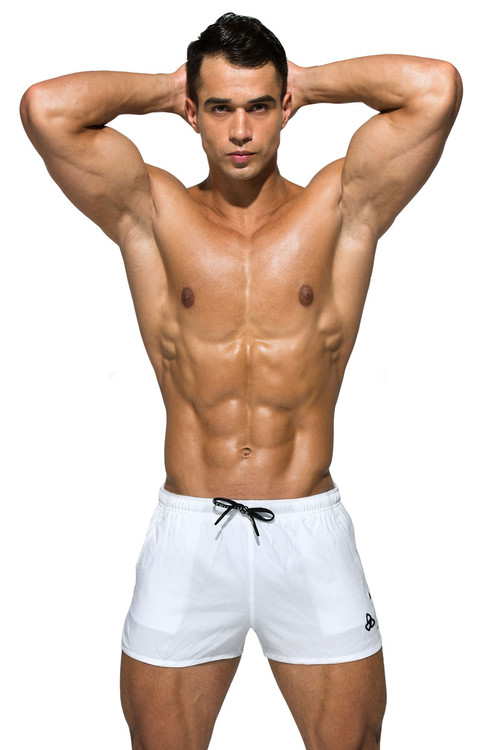 Private Structure BeFit Sweat Athletic Shorts BSBY4059-WH White - Mens Athletic Shorts - Front View - Topdrawers Clothing for Men