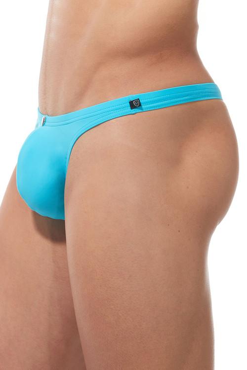 Gregg Homme Caliente Swim Thong 170625-AQ Aqua Blue - Mens Swim Thongs - Side View - Topdrawers Swimwear for Men