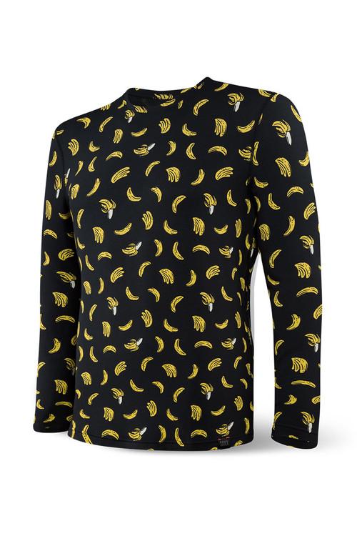 Saxx Sleepwalker Tee L/S | Black Bananarama SXLT34-BRK - Mens Sleepwear - Front View - Topdrawers Clothing for Men