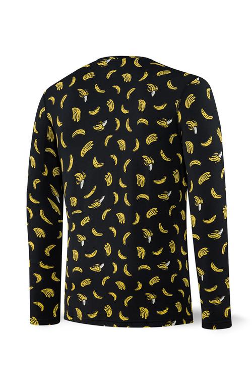 Saxx Sleepwalker Tee L/S | Black Bananarama SXLT34-BRK - Mens Sleepwear - Rear View - Topdrawers Clothing for Men