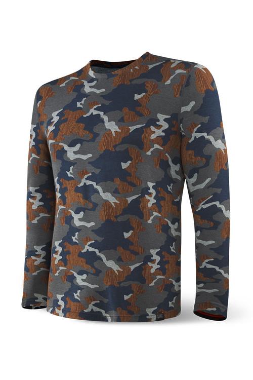 Saxx Sleepwalker Tee L/S | Navy Wood Grain Camo SXLT34-NWG - Mens Sleepwear - Front View - Topdrawers Clothing for Men