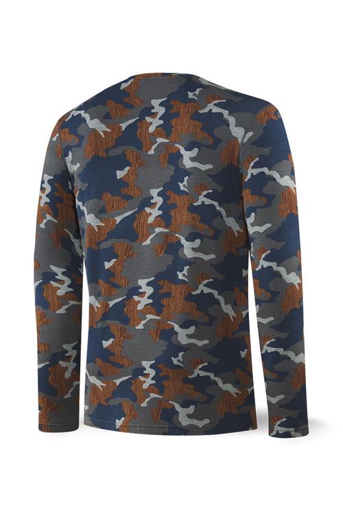 Saxx Sleepwalker Tee L/S   Navy Wood Grain Camo SXLT34-NWG - Mens Sleepwear - Rear View - Topdrawers Clothing for Men