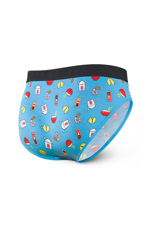 Saxx Ultra Brief w/ Fly | Blue Soy Happy SXBR30F-SYB - Mens Briefs - Rear View - Topdrawers Underwear for Men