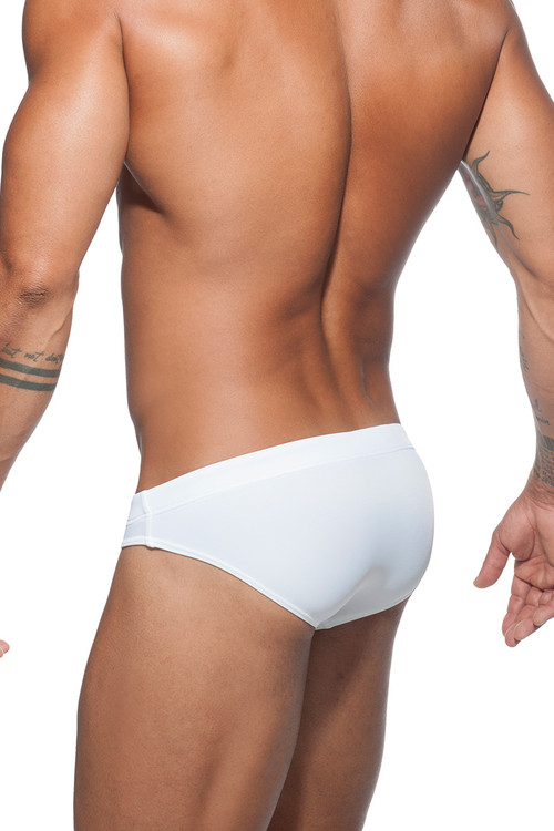 Addicted Basic AD Swim Brief ADS097-01 White- Mens Swim Briefs - Rear View - Topdrawers Swimwear for Men