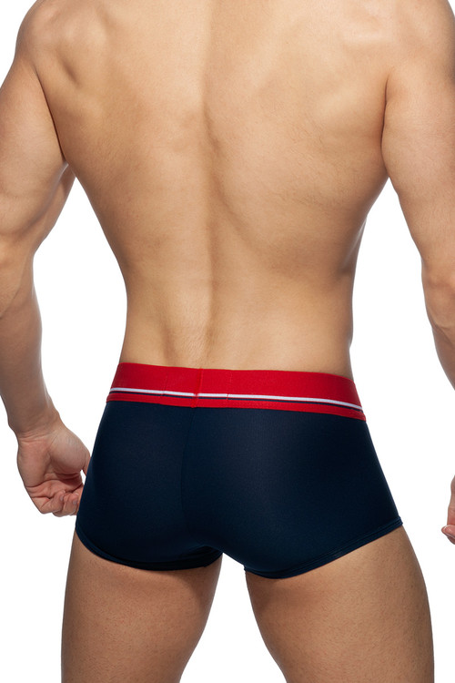 Addicted Cockring C-Through Trunk AD919-09 Navy Blue - Mens Trunk Boxers - Rear View - Topdrawers Underwear for Men