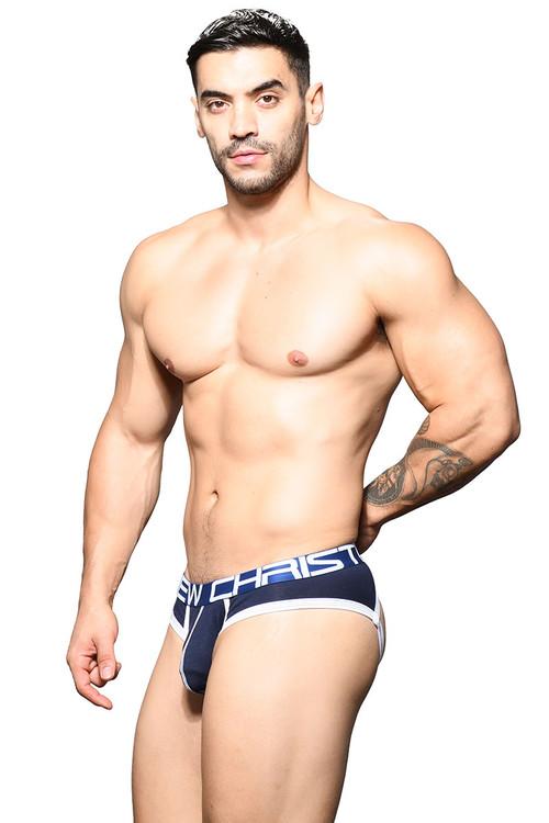 Andrew Christian Show-It Locker Room Jock 91644-NV Navy Blue - Mens Jock Briefs - Side View - Topdrawers Underwear for Men