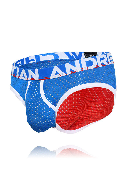 Andrew Christian Almost Naked Retro Mesh Brief 91668-RDEB Red Electric Blue - Mens Briefs - Garment View - Topdrawers Underwear for Men