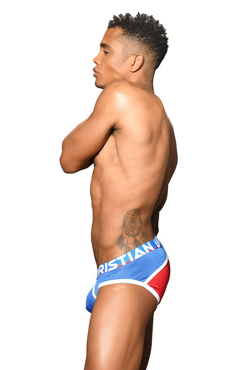 Andrew Christian Almost Naked Retro Mesh Brief 91668-RDEB Red Electric Blue - Mens Briefs - Side View - Topdrawers Underwear for Men