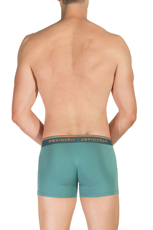 Obviously EveryMan Boxer Brief 3 Inch Leg B00-1G Teal  - Mens Boxer Briefs - Rear View - Topdrawers Underwear for Men