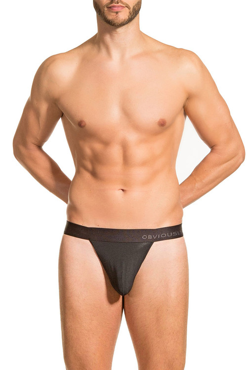 Obviously PrimeMan Thong A06-1A Black  - Mens Thongs - Front View - Topdrawers Underwear for Men