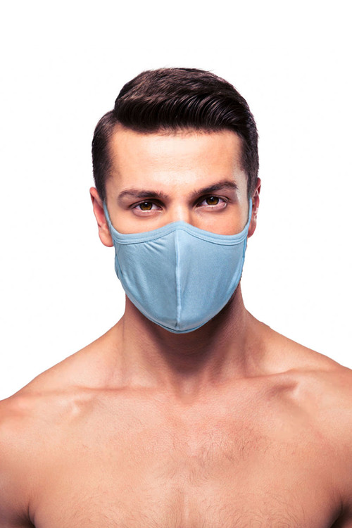 Obviously Face Mask MEA00-LBU Light Blue  - Unisex Protective Face Masks - Front View - Topdrawers Personal Protective Gear for Men