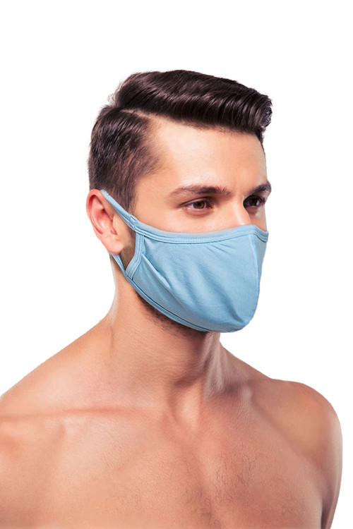 Obviously Face Mask MEA00-LBU Light Blue  - Unisex Protective Face Masks - Side View - Topdrawers Personal Protective Gear for Men