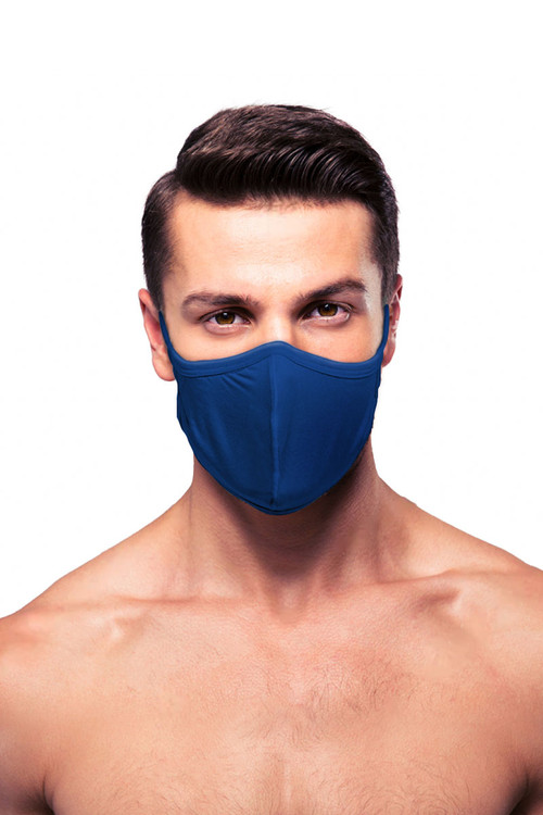 Obviously Face Mask MEA01-NV Navy Blue  - Unisex Protective Face Masks - Front View - Topdrawers Personal Protective Gear for Men