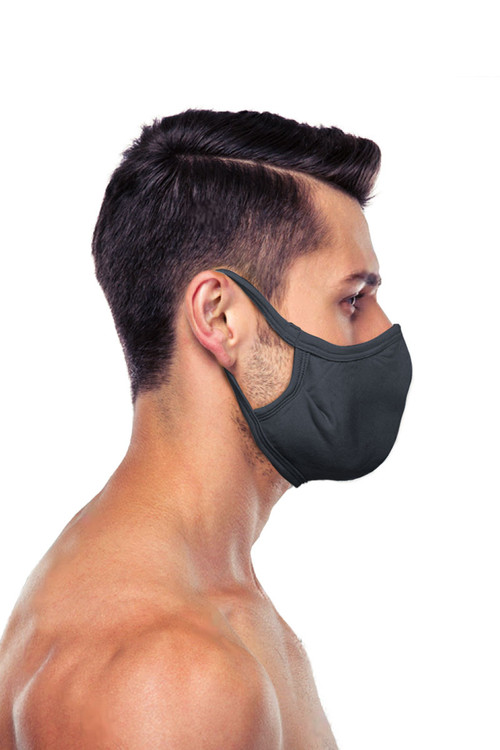 Obviously Face Mask MEA02-DKRG Dark Grey  - Unisex Protective Face Masks - Side View - Topdrawers Personal Protective Gear for Men