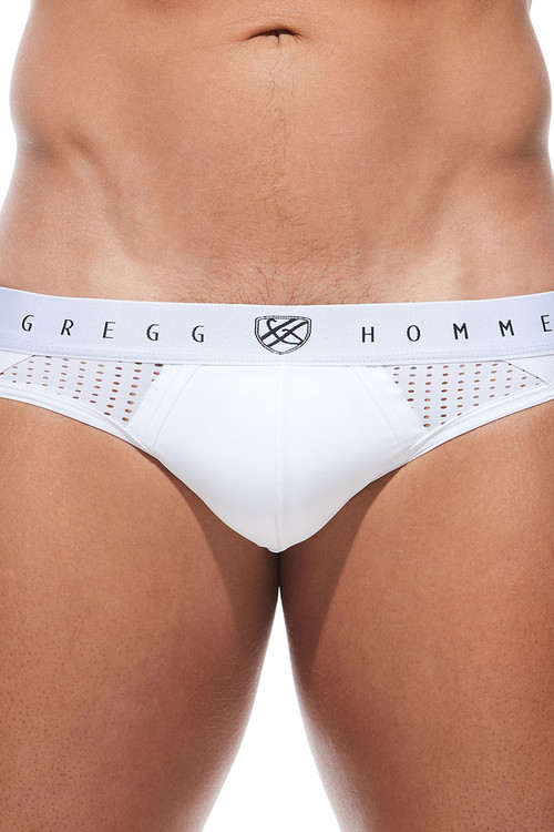 Gregg Homme Push Up 4.0 Jock 180434-WH White - Mens Enhancement Jockstraps - Front View - Topdrawers Underwear for Men
