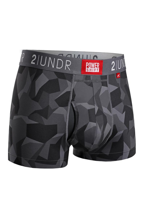 2UNDR Power Shift Trunk Black Camo 2U06TR-148 - Mens Athletic Boxer Briefs - Front View - Topdrawers Underwear for Men