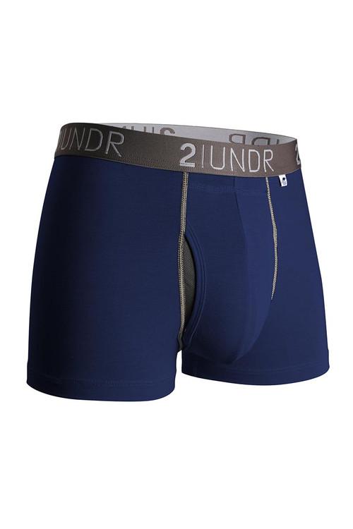 2UNDR Swing Shift Trunk Navy Grey 2U01TR-023 - Mens Trunk Boxer Briefs - Front View - Topdrawers Underwear for Men