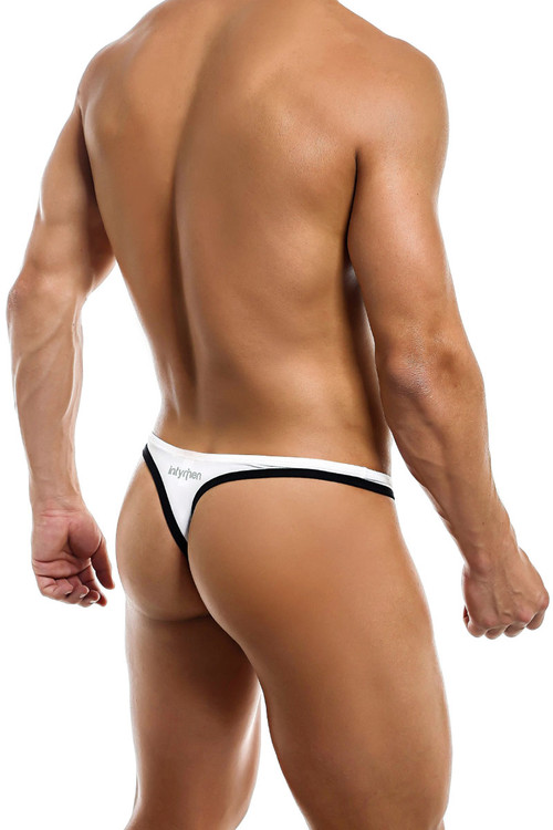 Intymen Gorgeous Thong INK009-WHNV White/Navy Blue - Mens Thongs - Rear View - Topdrawers Underwear for Men
