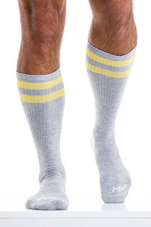 Modus Vivendi Soccer Socks XS2012-GR Grey - Mens Long Socks - Front View - Topdrawers Underwear for Men
