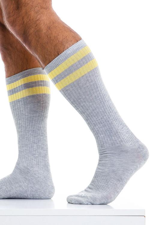 Modus Vivendi Soccer Socks XS2012-GR Grey - Mens Long Socks - Side View - Topdrawers Underwear for Men