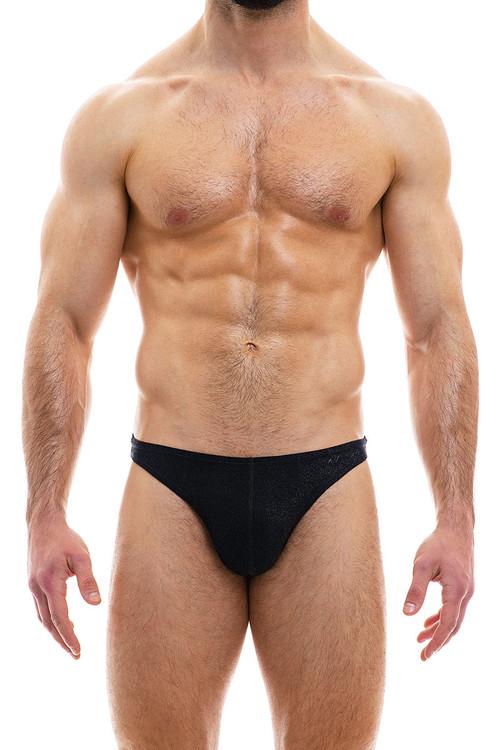 Modus Vivendi Glam Sparkle Low Cut Brief 10012-BL Black - Mens Briefs - Front View - Topdrawers Underwear for Men