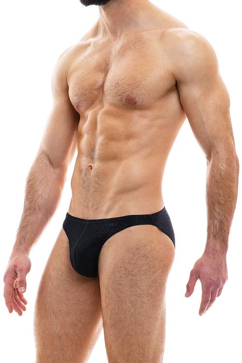 Modus Vivendi Glam Sparkle Low Cut Brief 10012-BL Black - Mens Briefs - Side View - Topdrawers Underwear for Men