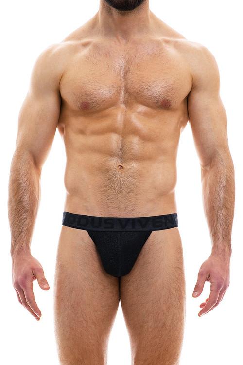 Modus Vivendi Glam Sparkle Tanga Brief 10013-BL Black - Mens Bikini Briefs - Front View - Topdrawers Underwear for Men