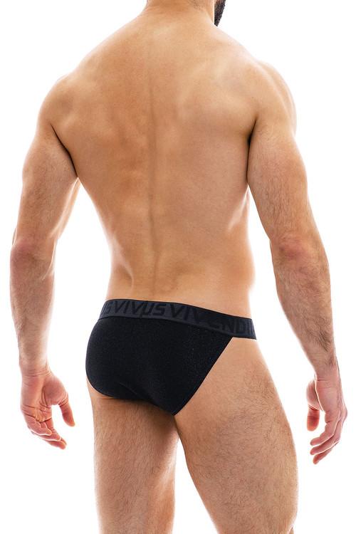 Modus Vivendi Glam Sparkle Tanga Brief 10013-BL Black - Mens Bikini Briefs - Rear View - Topdrawers Underwear for Men