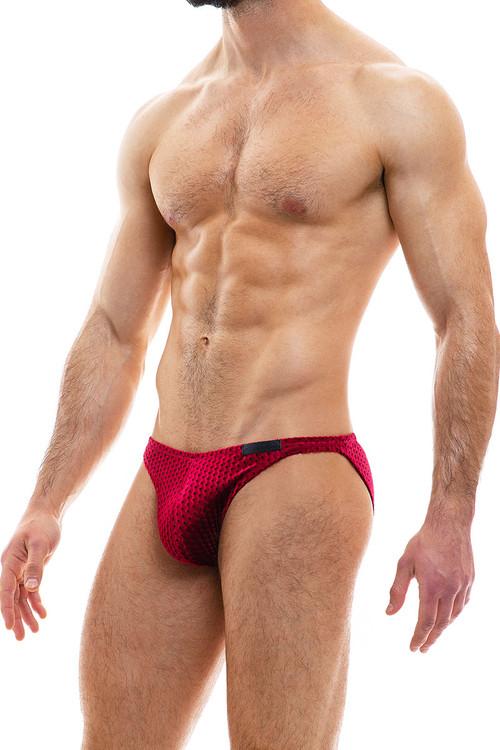 Modus Vivendi Tiffany's Velvet Low Cut Brief 12012-WN Wine Red - Mens Briefs - Side View - Topdrawers Underwear for Men