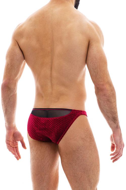 Modus Vivendi Tiffany's Velvet Low Cut Brief 12012-WN Wine Red - Mens Briefs - Rear View - Topdrawers Underwear for Men