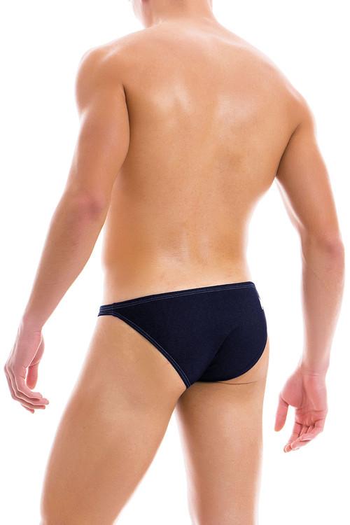 Modus Vivendi Jeans Low Cut Brief 12912-DE Denim - Mens Briefs - Rear View - Topdrawers Underwear for Men