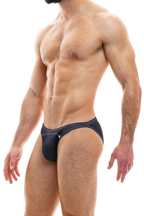 Modus Vivendi Jeans Low Cut Brief 05012-CH Charcoal Grey - Mens Briefs - Side View - Topdrawers Underwear for Men
