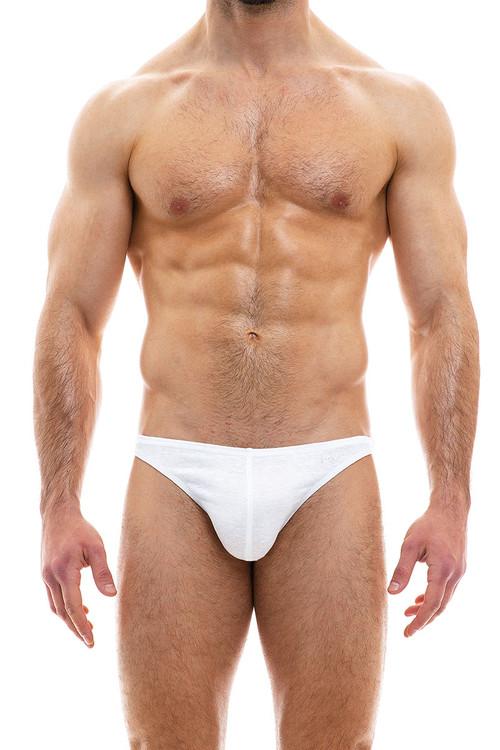 Modus Vivendi Cannabis Low Cut Brief 09013-1-WH White - Mens Briefs - Front View - Topdrawers Underwear for Men