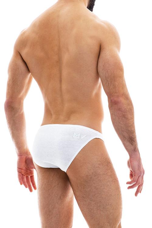 Modus Vivendi Cannabis Low Cut Brief 09013-1-WH White - Mens Briefs - Rear View - Topdrawers Underwear for Men