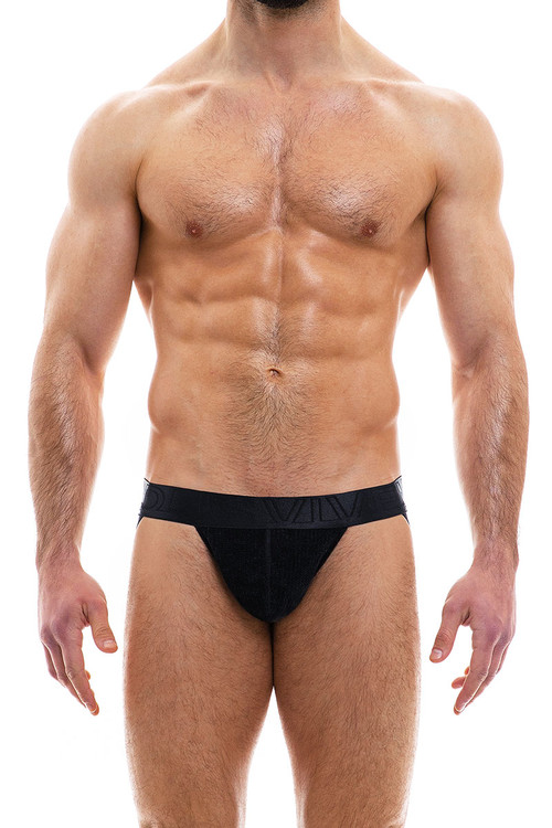 Modus Vivendi Smooth Knit Warmer Jockstrap 09014-BL Black - Mens Jockstraps - Front View - Topdrawers Underwear for Men