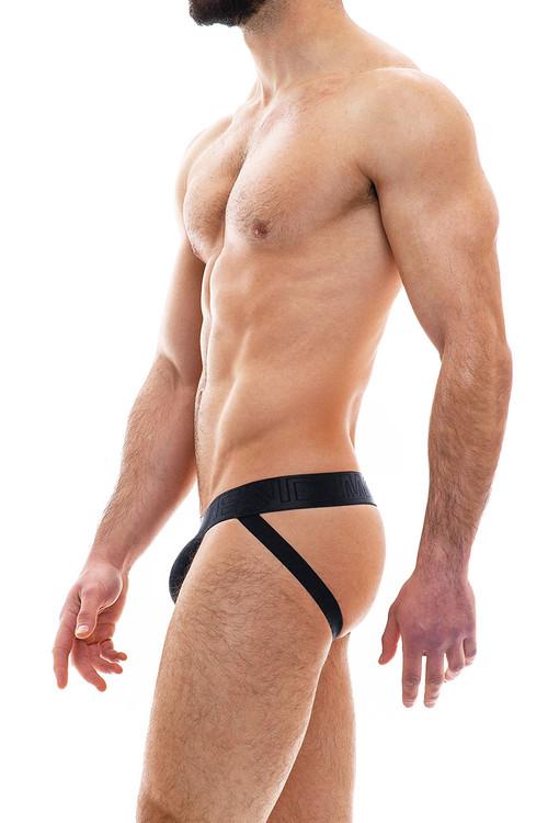 Modus Vivendi Smooth Knit Warmer Jockstrap 09014-BL Black - Mens Jockstraps - Rear View - Topdrawers Underwear for Men