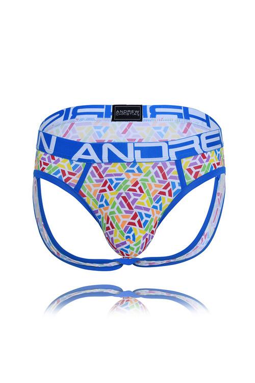 Andrew Christian Optic Pride Flex Jock w/ Almost Naked 91519 - Mens Jock Briefs - Garment View - Topdrawers Underwear for Men