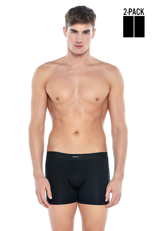 Punto Blanco 2-Pack Together Boxer 3307340-090 Black Black - Mens Boxer Briefs - Front View - Topdrawers Underwear for Men