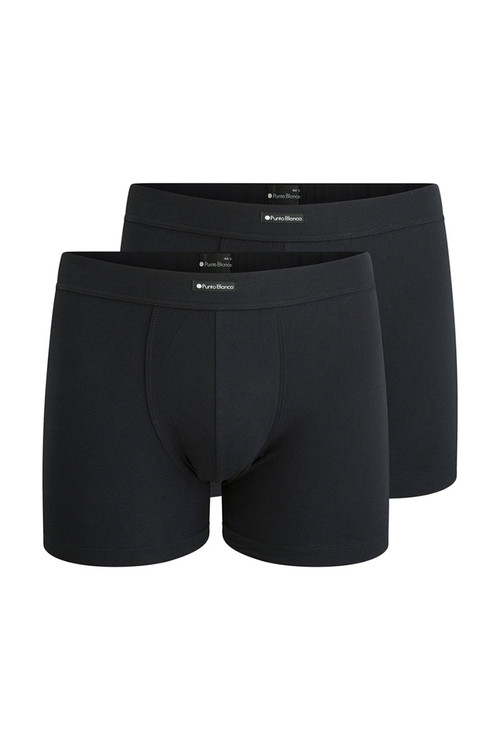 Punto Blanco 2-Pack Together Boxer 3307340-090 Black Black - Mens Boxer Briefs - Garment View - Topdrawers Underwear for Men