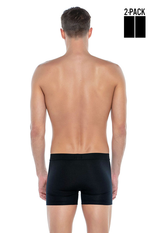 Punto Blanco 2-Pack Together Boxer 3307340-090 Black Black - Mens Boxer Briefs - Rear View - Topdrawers Underwear for Men